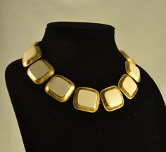 New to ChicMouseVintage on Etsy: Anne Klein Chunky Choker Necklace - White Enamel in Gold Tone - Tagged - Toggle Closure (45.00 USD)