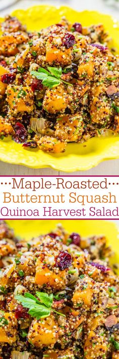 Maple-Roasted Butternut Squash Quinoa Harvest Salad - Easy and packed with big…
