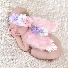 """Your precious angel will take beautiful photos with these Wings and headband Multi Baby Photography Prop Newborn Infant. Measures 7.5"""" x 6"""" can also be used in costumes. Baby Halloween Costume. I'm ab"""