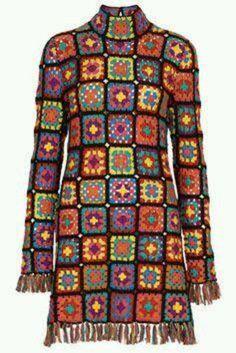 Transcendent Crochet a Solid Granny Square Ideas. Inconceivable Crochet a Solid Granny Square Ideas. Gilet Crochet, Cotton Crochet, Hand Crochet, Hand Knitting, Knit Crochet, Crochet Fringe, Hippie Crochet, Crochet Shirt, Granny Square Sweater