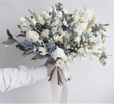 Wedding trends 2018 - Monochrome, grey and silver wedding - cool grey blue brida. - Wedding trends 2018 – Monochrome, grey and silver wedding – cool grey blue bridal bouquet wedding flowers Bridal Bouquet Blue, Blue Wedding Flowers, Bridal Flowers, Bride Bouquets, Flower Bouquet Wedding, Floral Wedding, Wedding Colors, Wedding Themes, Blue Bridal