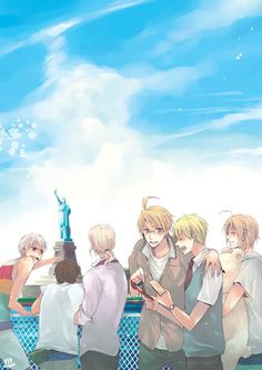 Countries visiting the Statue of Liberty! (left to right: Prussia, Spain, France, America, England, and Canada)
