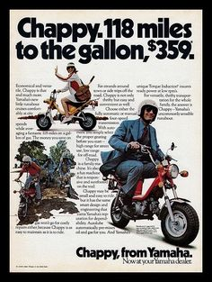 The Best Resource on the Net of Vintage Ads! Yamaha Chappy Not Street Legal. Hamamatsu, Vintage Cycles, Vintage Bikes, Yamaha Motorcycles, Cars And Motorcycles, Chappy Yamaha, Vintage Advertisements, Vintage Ads, Enduro Vintage