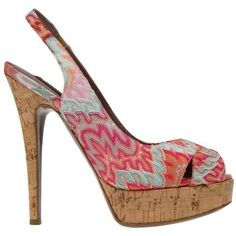 Preowned Beautiful Missoni Pink Crochet Knit Peep High Heels ($399) ❤ liked on Polyvore featuring shoes, sandals, high heels, pink, summer shoes, summer sandals, crochet shoes, cork platform sandals and crochet sandals