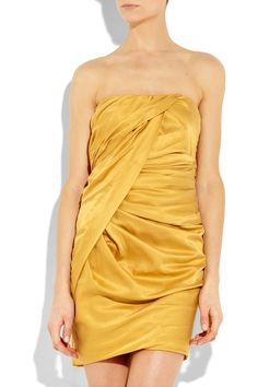 Gold satin strapless dress with crossover ruching. Elizabeth and James dress has boning at bodice, has a concealed zip and hook fastening at side and is fully lined. Ruched Dress, Satin Dresses, Strapless Dress, Mustard Fashion, Shades Of Gold, High Fashion, Womens Fashion, Discount Designer Clothes, Elizabeth And James