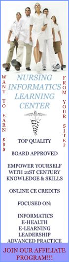 Several Nursing Informatics courses applied to Practice, Education, Theory. Leadership and Theory are available for Continuing Education (CE) credit or for professional development in nursing informatics. Some courses are short, fit to complete in a single afternoon. Others are more robust, project oriented and self-paced - all are taken entirely on-line in the privacy and comfort of your own home or office.