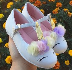 Decorate the birthday girl's shoes to look like adorable unicorns!