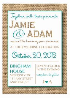 Wedding Invitation with RSVP cards- Burlap and Rustic Style on Etsy, $30.00