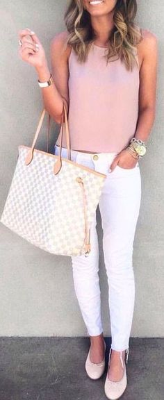 #casual #outfits #street #style #fashion #inspiration | Blush + white.