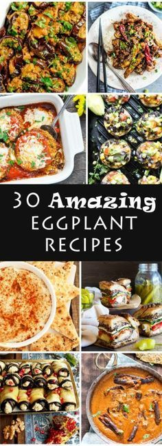 Looking for healthy and easy eggplant recipes? Look no further than these 30 Amazing Eggplant Recipes! You'll find a huge variety of recipes that highlight the versatility of eggplant. some of the recipes need to be veganized Healthy Dinner Recipes, Vegetarian Recipes, Cooking Recipes, Vegan Vegetarian, Vegetable Side Dishes, Vegetable Recipes, Clean Eating Snacks, Healthy Eating, Comfort Food