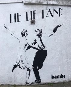 "StreetArtGlobe ""Lie lie land"" featuring Theresa and Trump by Bambi Street Artist. Caption this work for us."