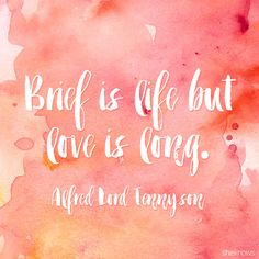 "Love quote - ""Brief is life but love is long"""