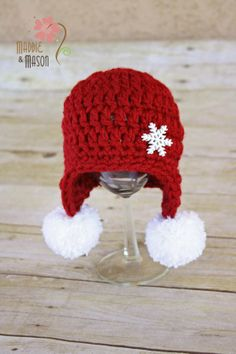 Little Winter Snowflake Red Earflap Beanie with White Pom Poms 2745aaa9ecd