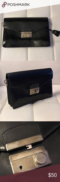 Black Vintage Prada Leather Clutch Accordion style black leather clutch with front silver latch  Used; minor scratches and scuffing on the bag Authentic Vintage Prada Clutch Missing Authenticity Card Missing Strap Prada Bags Clutches & Wristlets