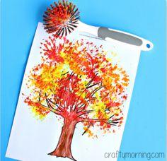 Fall Tree Craft Using a Dish Brush