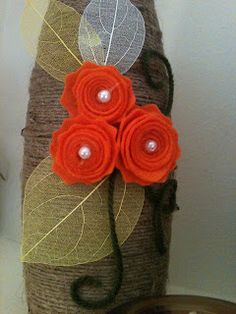 fall vase diy Could use wine bottle covered in string
