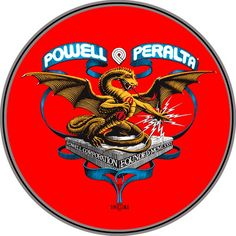 Vintage throwback Powell Peralta Dragon Skateboard logo founded in 1981. We used to cover our decks in these