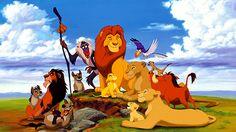Lion King characters from left to right: Shenzi, Scar, Ed, Banzai, Rafiki, Young Simba, Mufasa, Young Nala, Sarabi, Zazu, Sarafina, Timon, and Pumbaa (1994)