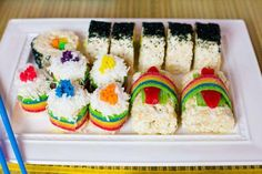 Japanese Kokeshi Doll 6th birthday party with Lots of Cute Ideas #Japan #Party #Ideas kawaii! <3 Love the candy sushi