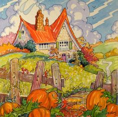 An Autumn Cottage Storybook Cottage Series original painting by Alida Akers
