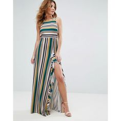 ASOS Striped Strappy Bow Back Maxi Dress featuring polyvore women's fashion clothing dresses multi square neck dress tie-dye maxi dresses stripe maxi dress spaghetti-strap maxi dresses stripe dresses