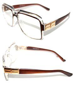 648b4b6e4f15 Mens Womens Vintage 607 Hip Hop Clear Lens Eye Glasses Run DMC Brown Clear  Gold