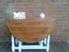 Drop Leaf Table Solid Oak Gate Leg Shabby Chic Effect Table