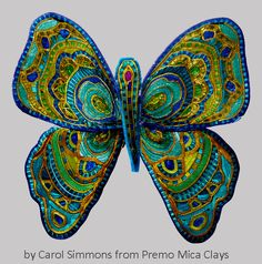 This butterfly is made from very this slices of canes constructed from Premo…