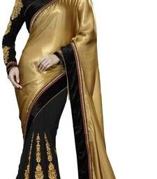 Buy golden embroidered georgette saree With Blouse georgette-saree online