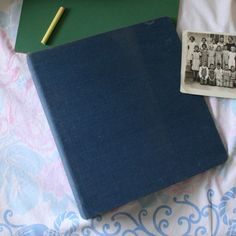 large 3 ring binder steel blue linen school vintage