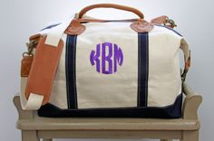 Monogram Canvas Satchel/Duffel by SEmbroideredBoutique on Etsy, $85.00