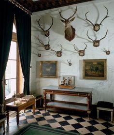 Geweihe und Bilder an die Wand