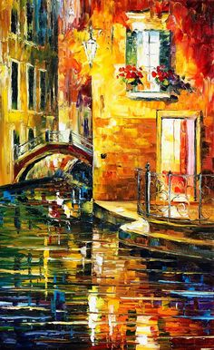 Original Recreation Oil Painting on Canvas This is the best possible quality of recreation made by Leonid Afremov in person  Title: Secrets Of Venice Size: 16 x 26 inches (40 cm x 65 cm) Condition: Excellent Brand new Gallery Estimated Value: $ 6,500 Type: Original Recreation Oil Painting on Canvas by Palette Knife  This is a recreation of a piece which was already sold.  The recreation is 100% hand painted by Leonid Afremov using oil paint, canvas and palette knife.  Its not an identical…