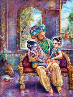 Krishna and Balaram sit on Nanda's Lap Arte Krishna, Krishna Leela, Radha Krishna Photo, Krishna Radha, Radha Rani, Yashoda Krishna, Krishna Statue, Durga, Lord Krishna Images