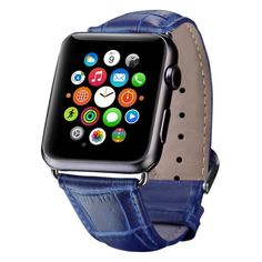 iPM Crocodile Leather Band for Apple Watch 38mm - Blue #WatchBands