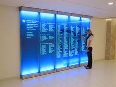 CUMC Benefactor Wall with lit glass and layered graphics. Design by Roll Barresi. Fabrication and installation by DCL. #benefactor #donor #wall #donation #recognition