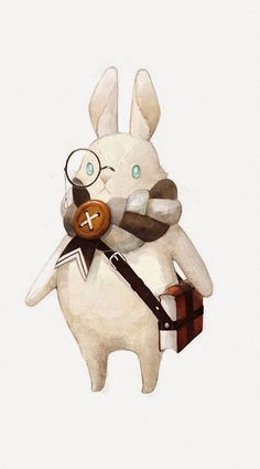 Bunny Rabbit wearing a scarf & carrying a book art