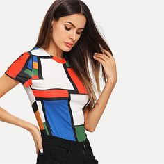 T-shirt color bloc multicolore