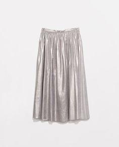 Zara Metallic Skirt #zara #midi #metallic #skirt