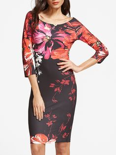 Shop Multicolor Flower Print Boat Neck Bodycon Dress online. SheIn offers Multicolor Flower Print Boat Neck Bodycon Dress & more to fit your fashionable needs.