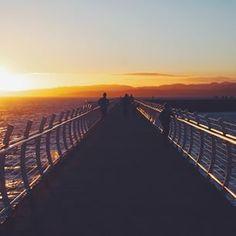 Sunset on the breakwater in Victoria on Vancouver Island.   (Photo: @stevenamo via Instagram) #exploreBC #explorecanada