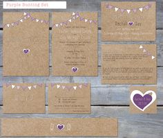 Printable Rustic 'Purple Bunting' wedding stationery set by PeonyandLaceUK on Etsy, Best Friend Wedding, Our Wedding Day, Diy Wedding, Rustic Wedding, Wedding Stuff, Wedding Stationery Sets, Simple Wedding Invitations, Wedding Paper, Wedding Cards