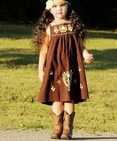 Another great find on #zulily! Little Cotton Dress Brown & Gold Lorena Dress - Infant, Toddler & Girls by Little Cotton Dress #zulilyfinds