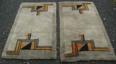 SCARCE PAIR ENGLISH ART DECO PERIOD HAND KNOTTED WOOLLEN RUG,CIRCA 1930