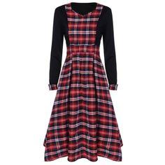 Scottish Plaid Patch Design Long Sleeve Vintage Dress, RED/BLACK, L in Vintage Dresses | DressLily.com
