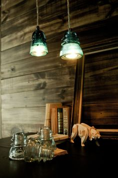glass insulator pendant lamps.