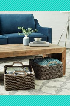 Love the large baskets under the coffee table. What a great design element. Great storage thats also a cute detail.  #ad #livingroom #livingroomideas #livingroomdecor #familyroom #familyroomdecor #decorating #ideas #baskets #wovenbaskets #storage