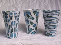Summer Latte Cups by Nanna Bayer Finnish artist, living in Tasmania.Usually colored porcelain neriage/nerikome techniques.