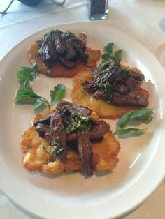 https://paleo-diet-menu.blogspot.com/ #PaleoDiet Tostones rellenos with churrasco. IMAGE ONLY. No recipe. Has sliced grilled skirt with a chimichurri sauce. Can use flank steak, pulled pork or chicken  any favorite topping.. Make up your own meat  toppings.