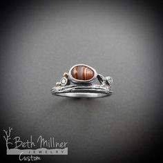 Custom Agate and Diamond Twig Engagement Ring  by Beth Millner Jewelry